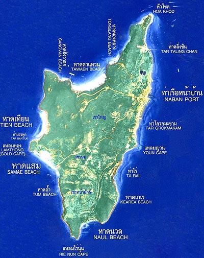 Ко Лан Паттайя, карта острова